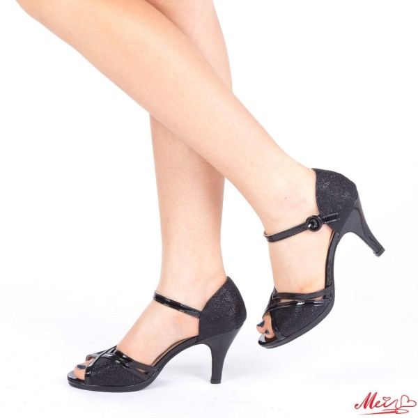 Sandale Dama cu Toc QZL159 Black Mei