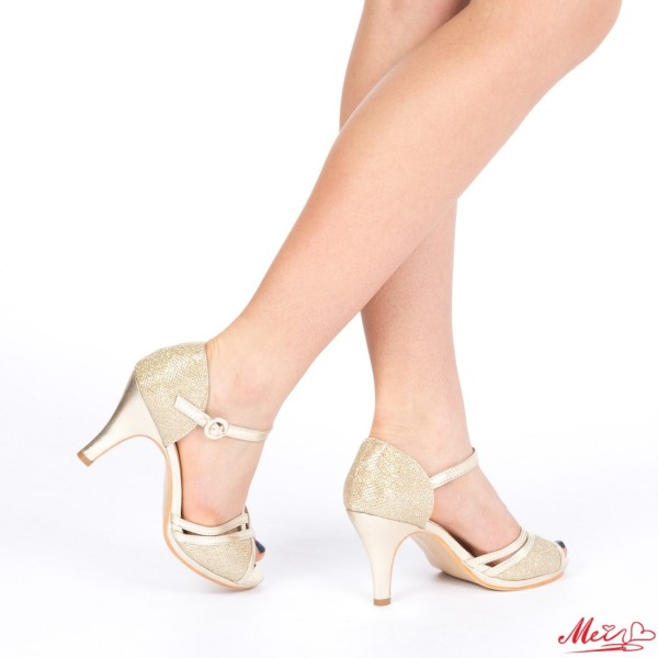 Sandale Dama cu Toc QZL159 Gold Mei