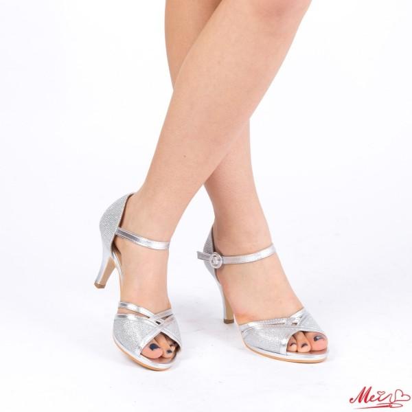 Sandale Dama cu Toc QZL159 Silver Mei