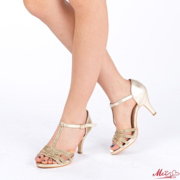 Sandale Dama cu Toc QZL160 Gold Mei