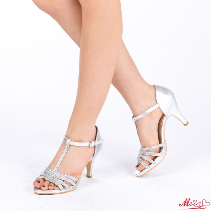 Sandale Dama cu Toc QZL160 Silver Mei
