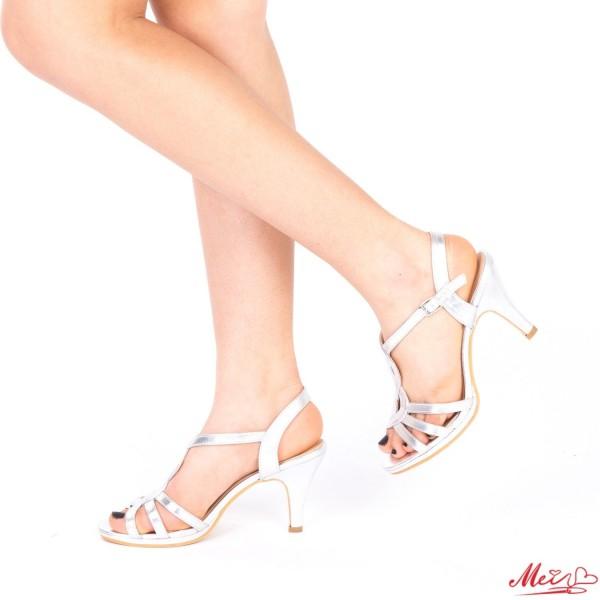 Sandale Dama cu Toc QZL161 Silver Mei