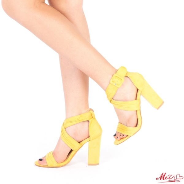 Sandale Dama cu Toc QZL162 Yellow Mei