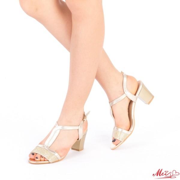 Sandale Dama cu Toc QZL168 Gold Mei