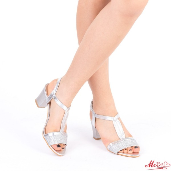Sandale Dama cu Toc QZL168 Silver Mei