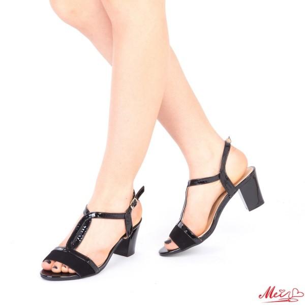 Sandale Dama cu Toc QZL168A Black Mei