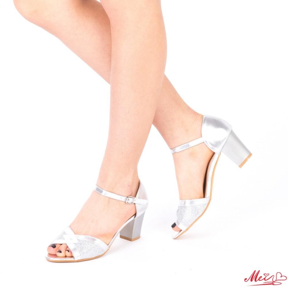 Sandale Dama cu Toc QZL176 Silver Mei