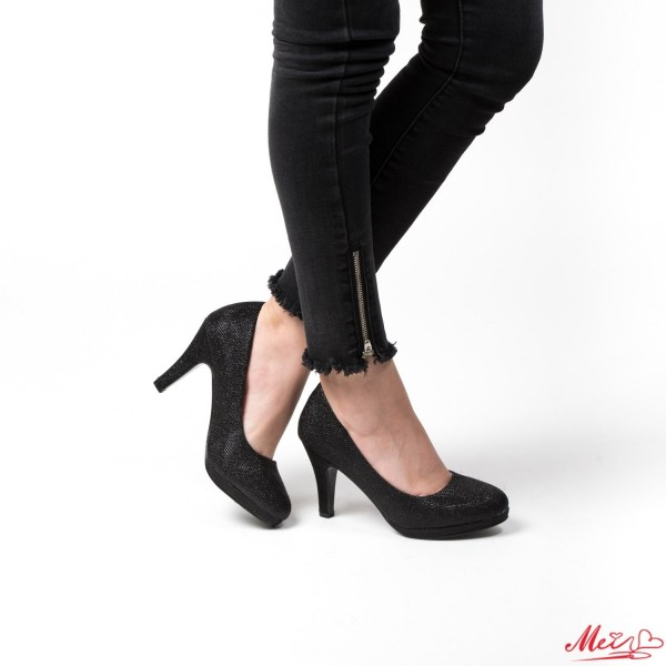 Pantofi cu Toc QZL65B Black Mei