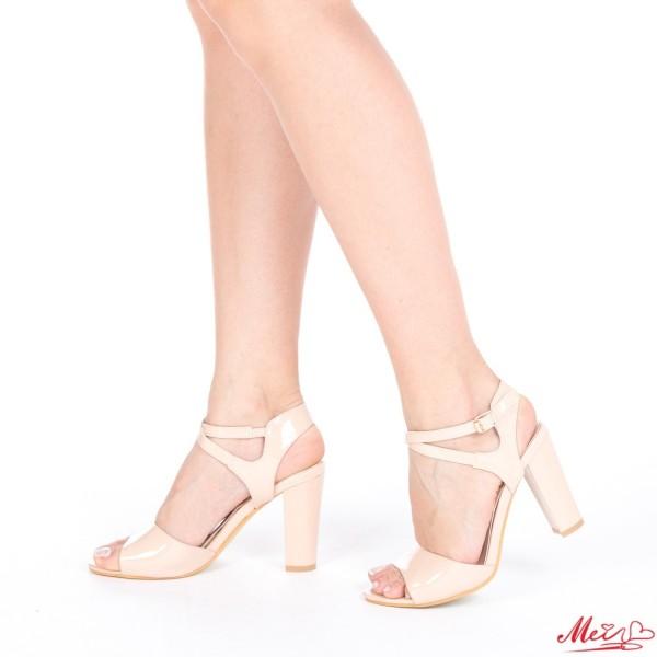 Sandale Dama cu Toc QZL83 Nude Mei