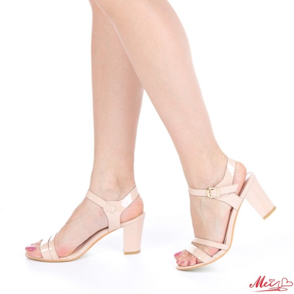 Sandale Dama cu Toc QZL86 Nude Mei