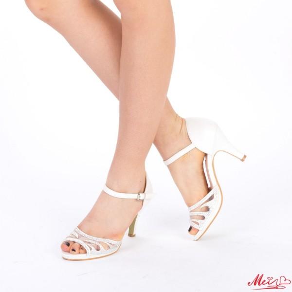 Sandale Dama cu Toc QZL97 White Mei