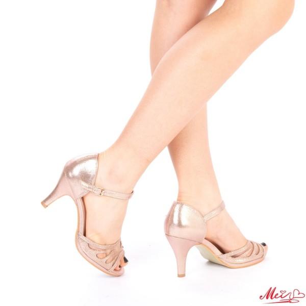 Sandale Dama cu Toc QZL97 Gold Mei