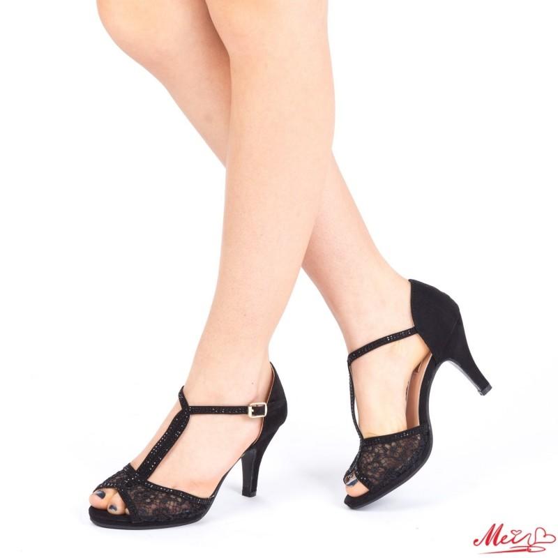 Sandale Dama cu Toc QZL98 Black Mei
