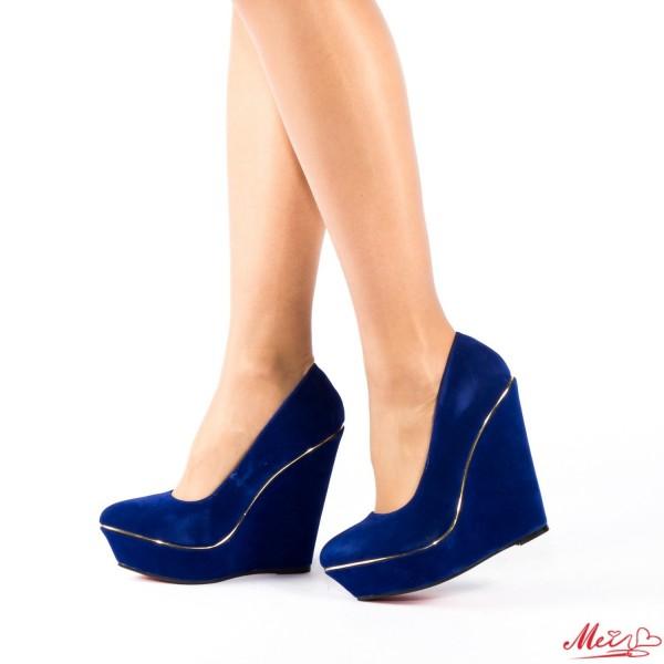 Pantofi cu Toc si Platforma RZ40 Blue Mei