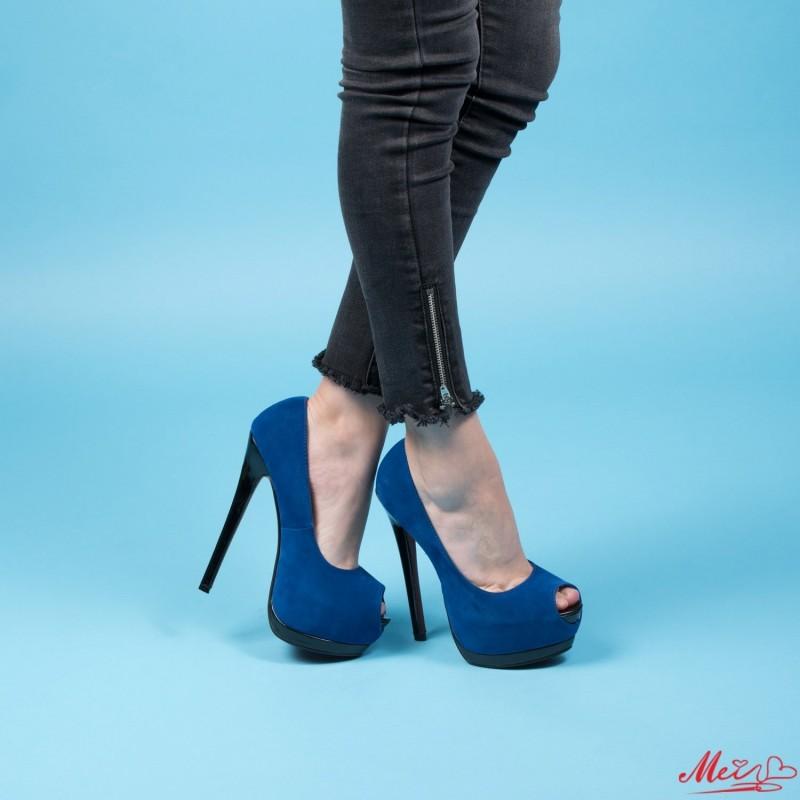 Sandale Dama cu Toc si Platforma RZ43 Blue Mei