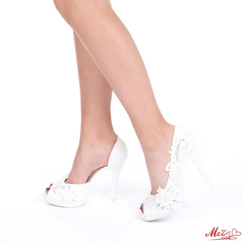 Sandale Dama cu Toc S11 White Mei