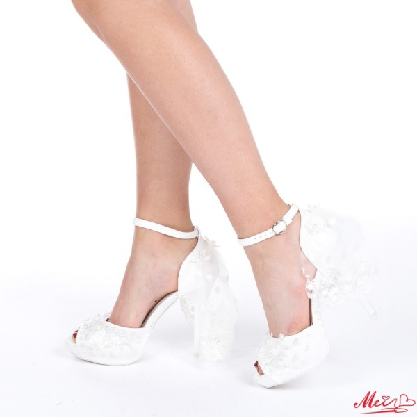 Sandale Dama cu Toc S13 White Mei