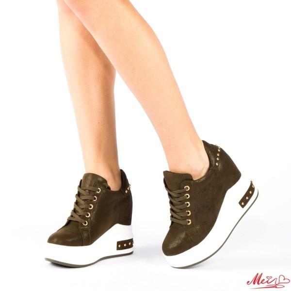 Pantofi Sport Dama cu Platforma SJN117 Dark Green Mei