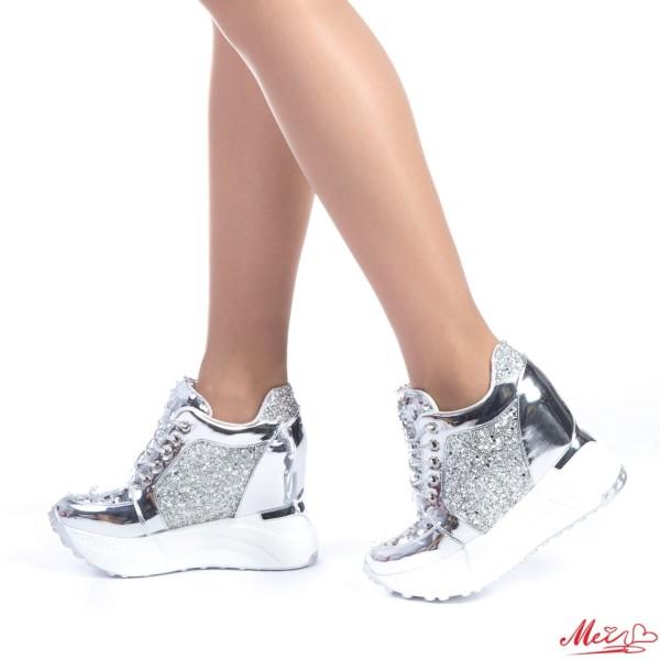 Pantofi Sport Dama cu Platforma SJN129 Silver Mei