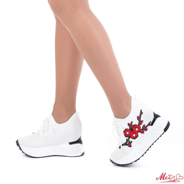 Pantofi Sport Dama cu Platforma SJN132 White Mei