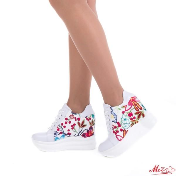 Pantofi Sport Dama cu Platforma SJN151 White Mei