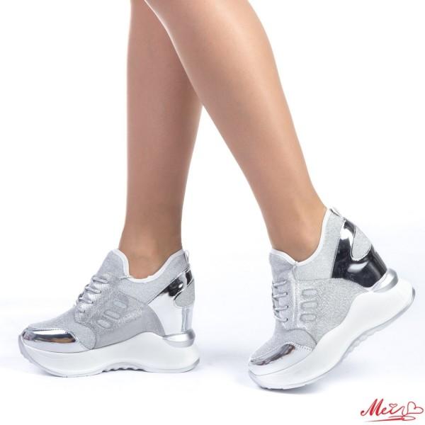 Pantofi Sport Dama cu Platforma SJN153 Silver Mei