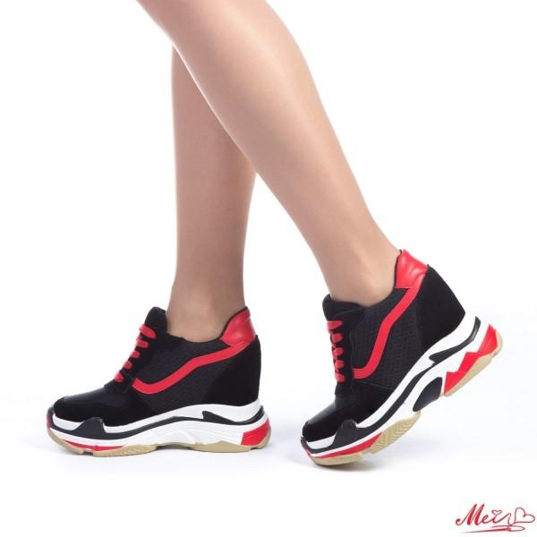 Pantofi Sport Dama cu Platforma SJN159 Black-Red Mei