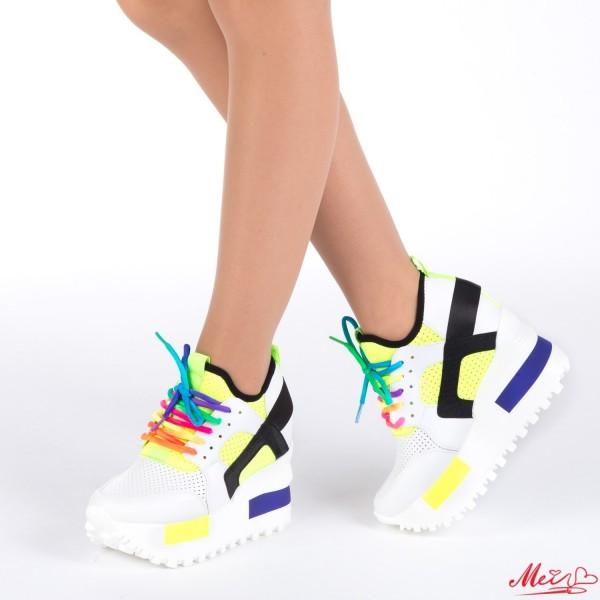 Pantofi Sport Dama cu Platforma SJN53 White Mei