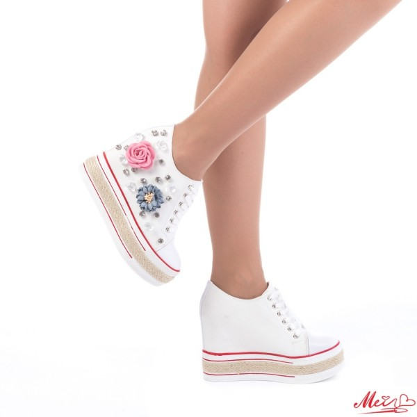 Pantofi Sport Dama cu Platforma SJN67 White Mei