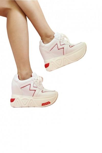 Pantofi Sport Dama cu Platforma SJN68 White Red Mei