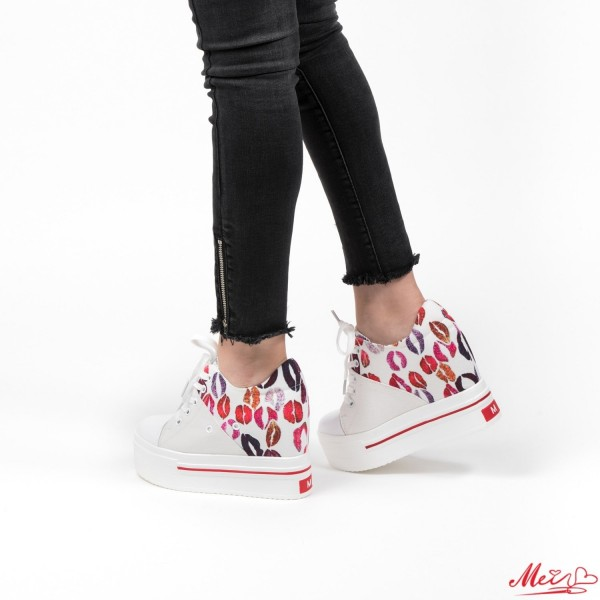 Pantofi Sport Dama cu Platforma SJN70 White Mei