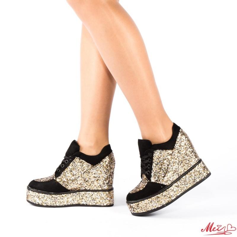 Pantofi Sport Dama cu Platforma SJN77 Gold Mei