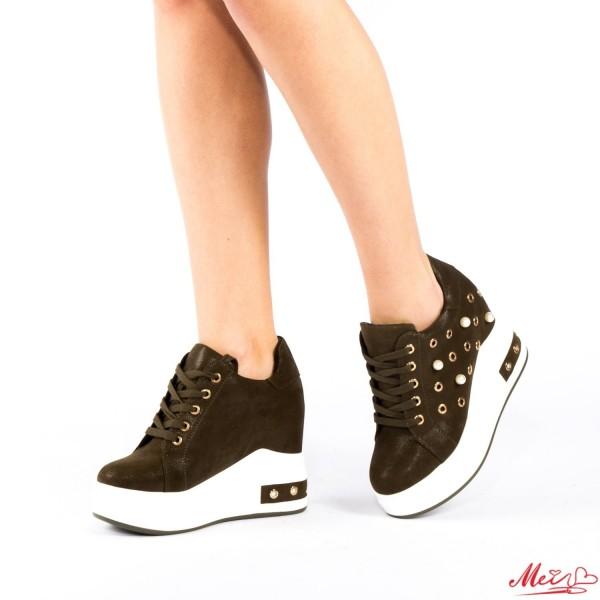 Pantofi Sport Dama cu Platforma SJN85 Dark Green Mei