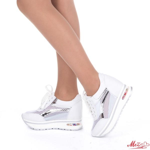 Pantofi Sport Dama cu Platforma SZ113 White Mei