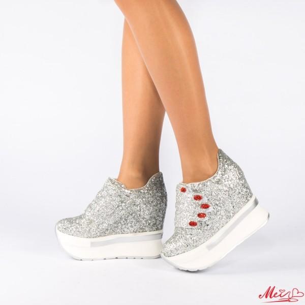 Pantofi Sport Dama cu Platforma SZ75 Silver Mei