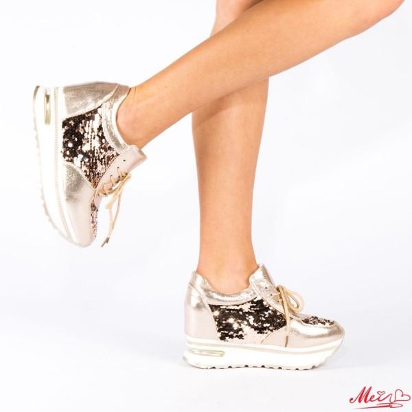Pantofi Sport Dama cu Platforma SZ82 Gold Mei