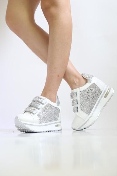 Pantofi Sport Dama cu Platforma SZ83 White Mei