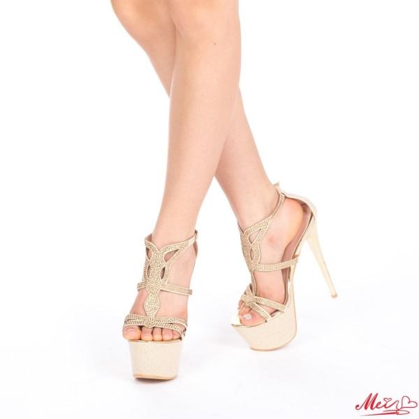 Sandale Dama cu Toc si Platforma TL7 Gold Mei