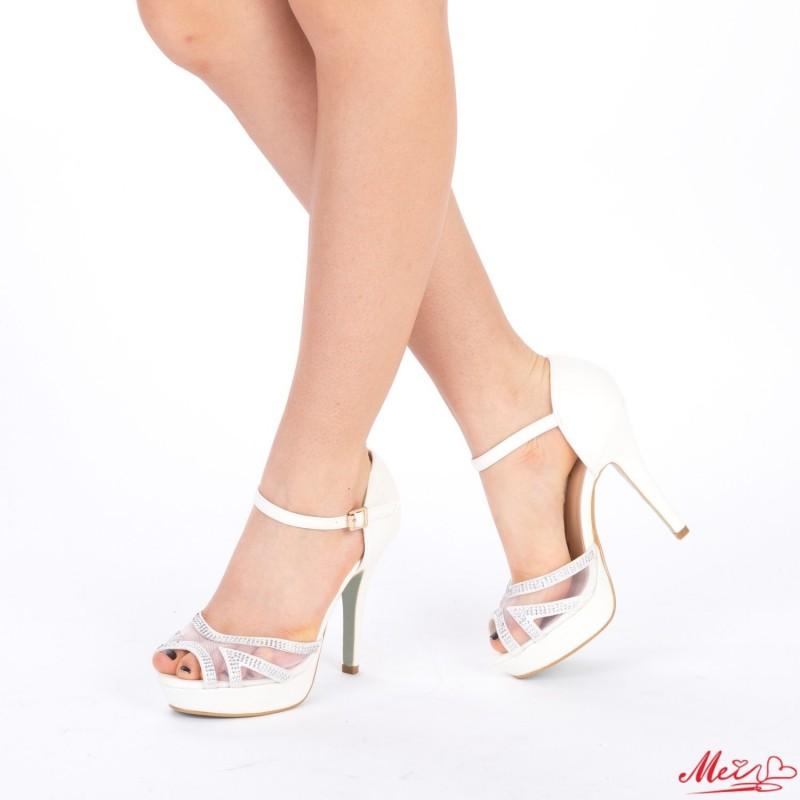 Sandale Dama cu Toc si Platforma WT109 White Mei