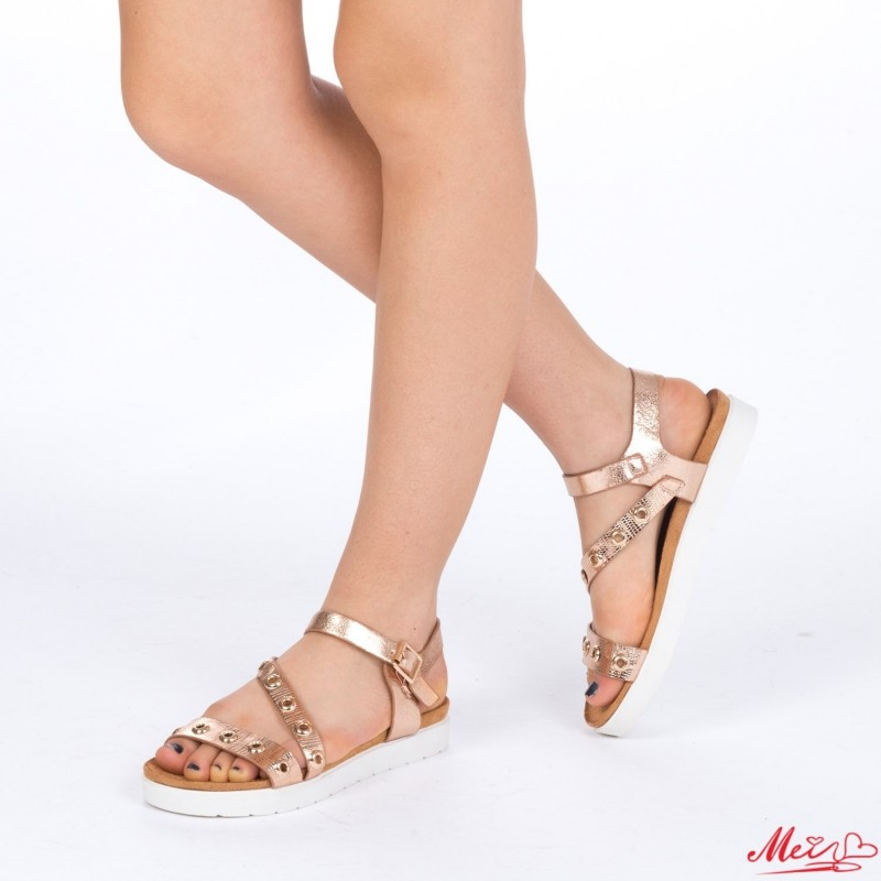 Sandale Dama cu Toc WT16 Champagne Mei