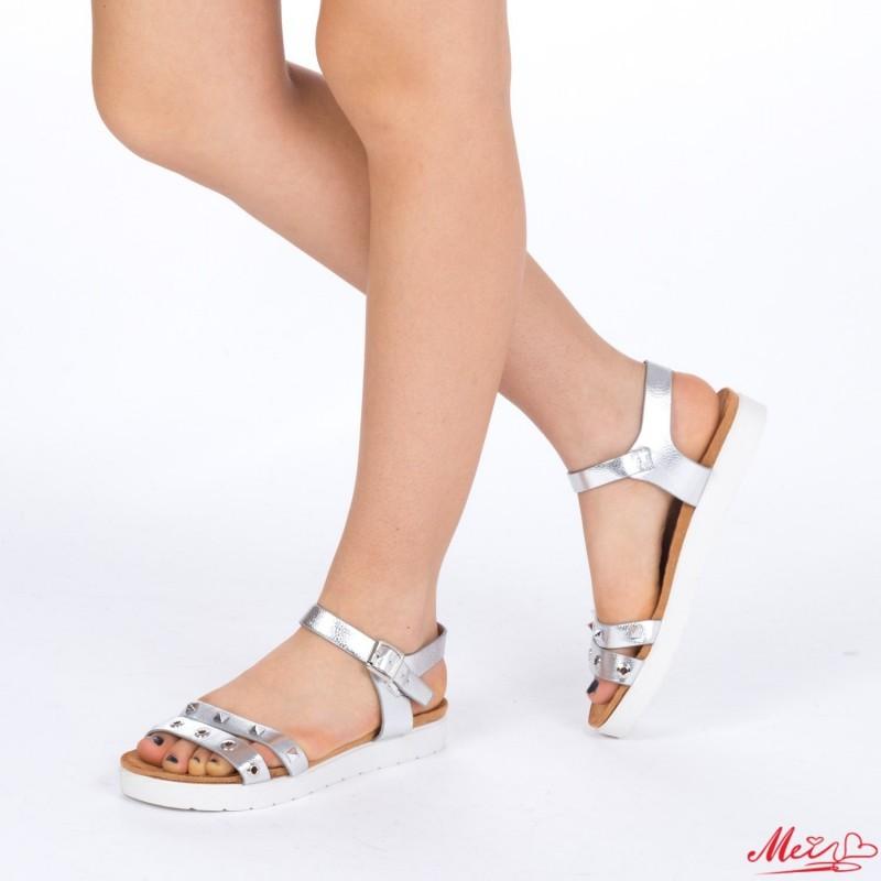 Sandale Dama cu Toc WT17 Silver Mei