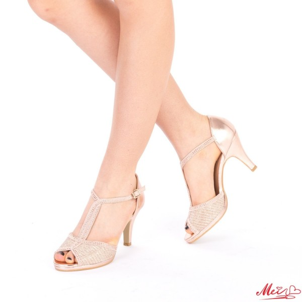 Sandale Dama cu Toc WT177 Champagne Mei