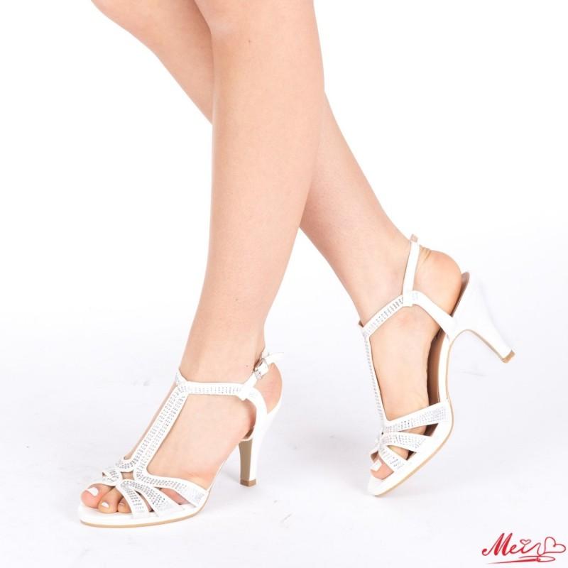 Sandale Dama cu Toc WT182 White Mei