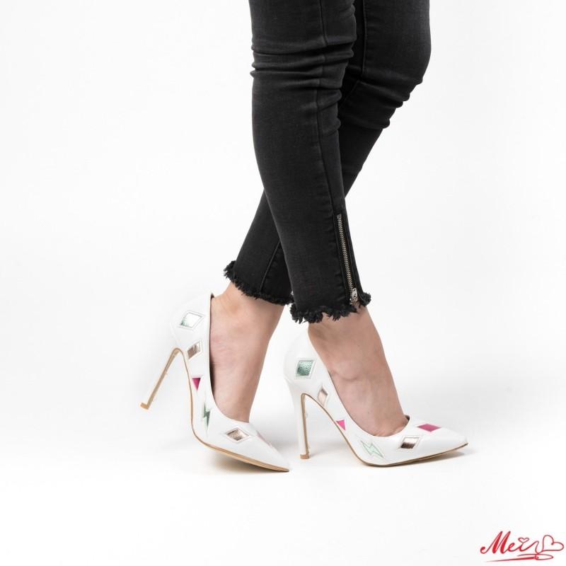 Pantofi cu Toc WT183 White Mei