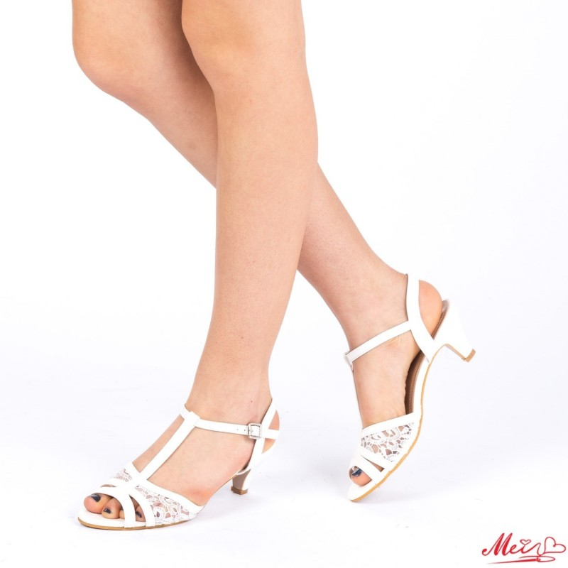 Sandale Dama cu Toc WT23 White Mei