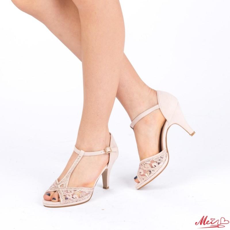 Sandale Dama cu Toc WT25 Beige Mei