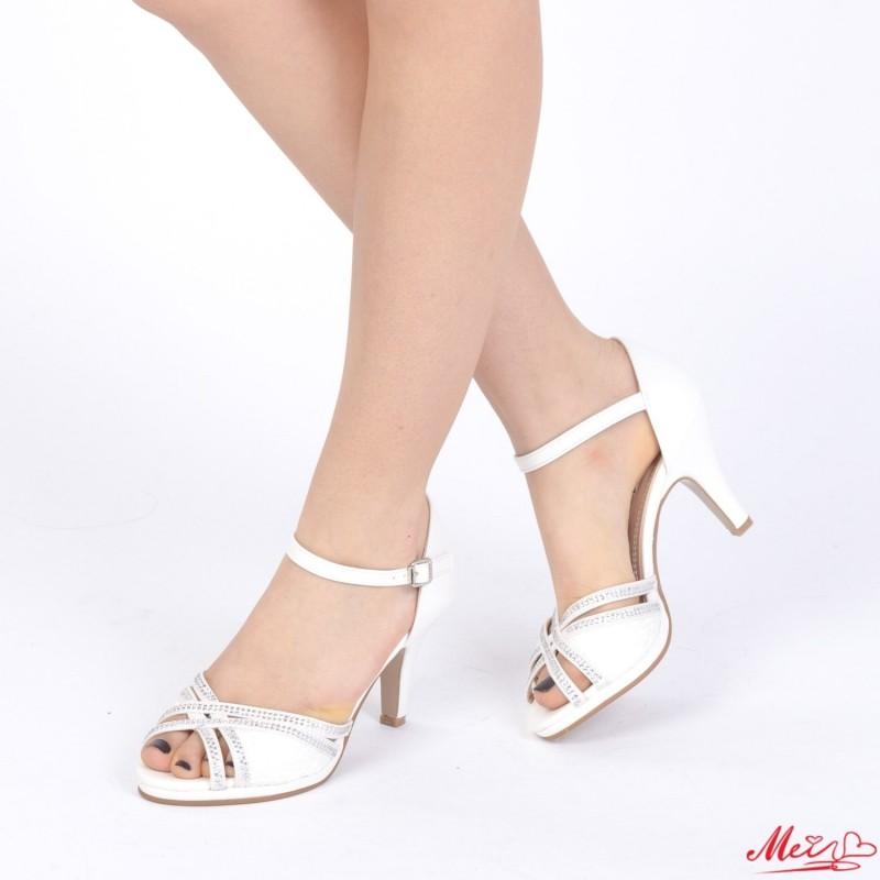 Sandale Dama cu Toc WT26 White Mei