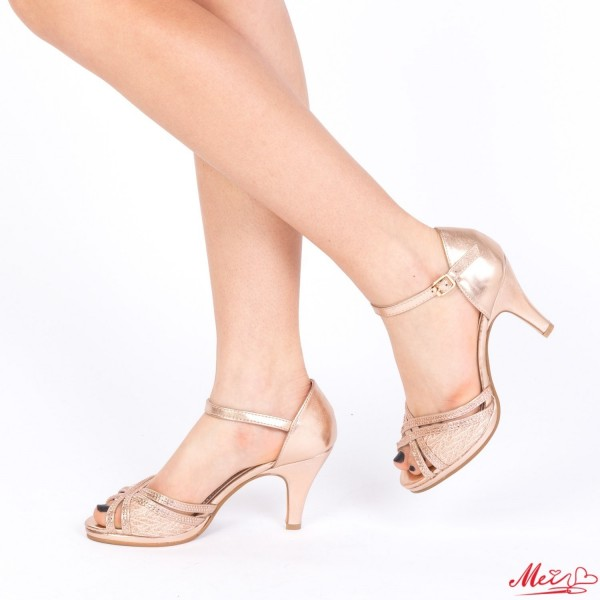 Sandale Dama cu Toc WT26 Champagne Mei