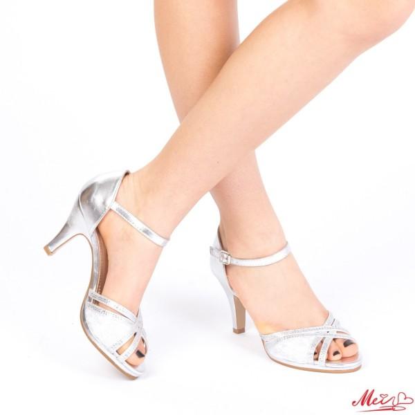 Sandale Dama cu Toc WT26 Silver Mei
