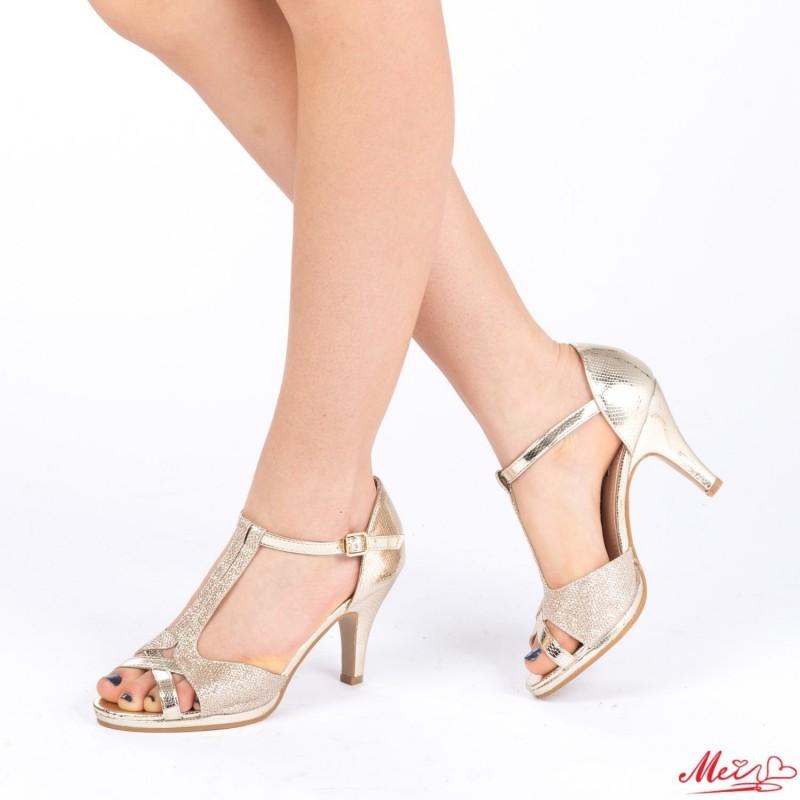 Sandale Dama cu Toc WT27 Gold Mei